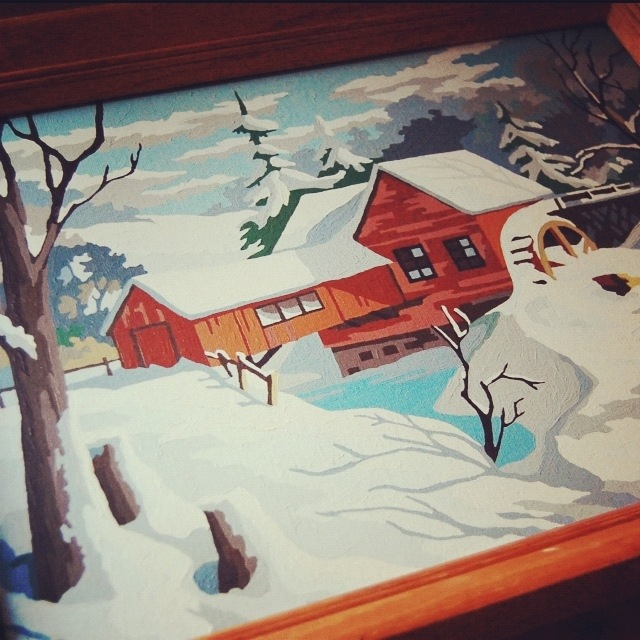 paint by number winter scene