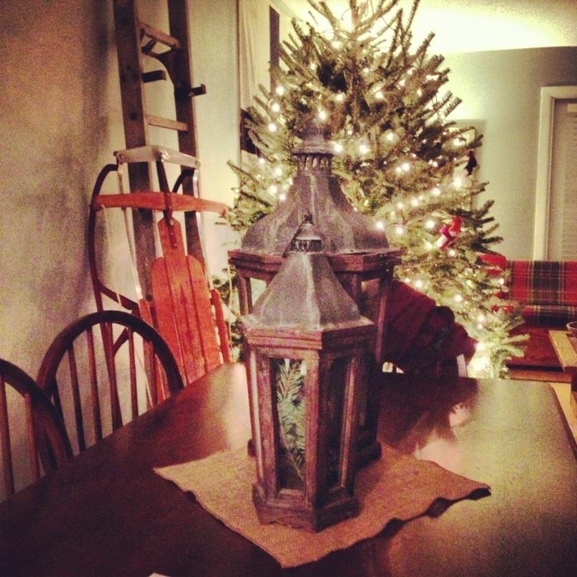 sled and lanterns